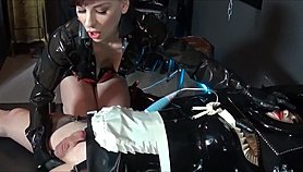 Madame C plays with rubber doll AngelicBella's cock & ass Free Porn